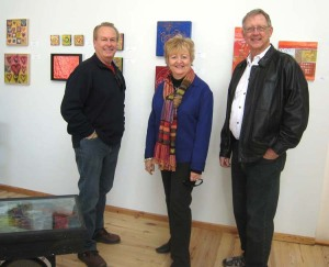 "Joe Cornett, Charlotte Cornett and Bill Baker at the EAI ""Art from the Heart"" opening"