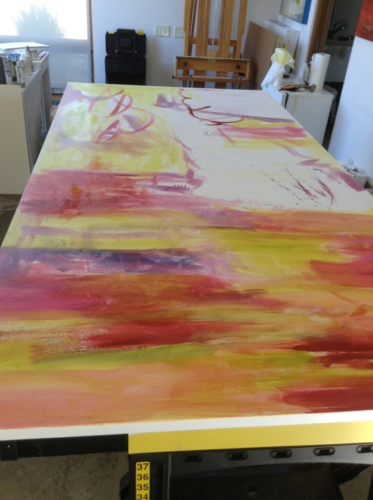 """First washes on the left canvas  110"""" x 56"""""""