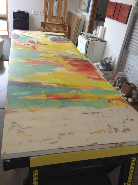 "Beginning on the right canvas  110"" x 38"""