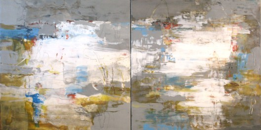 "Tide Pool IV and V-----60"" x 30"" x 2""------Encaustic on Panel"