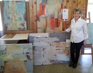 Martha with Kerrville paintings 2014