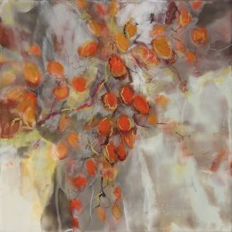 "Japanese Garden, Autumn I & II 12"" x 12"" x2"" Encaustic on Panel"